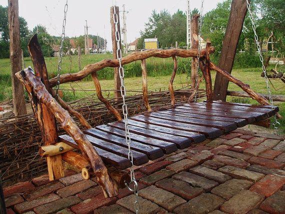 Outdoor Swing: Porch Swings, Rustic Gardens, Outdoor Furniture, Gardens Swings, Country Home, Rustic Wood, Porches Swings, Nurseries Outdoor, Outdoor Swings