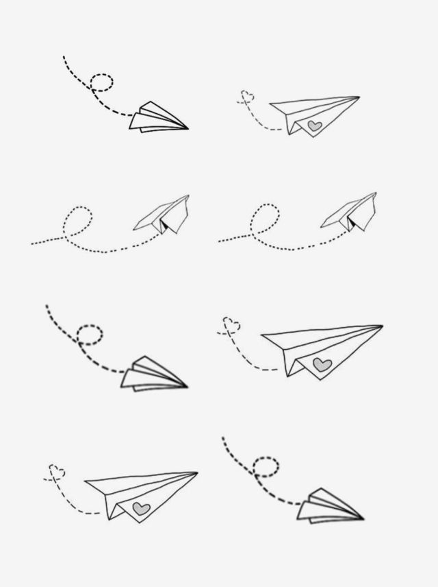 Hand Drawn Literary Cartoon Paper Airplane Elements Hand Painted