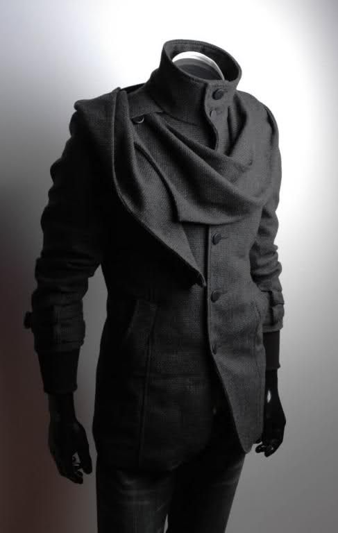 Strange built in scarf on this coat, not sure how I really feel about it but worth pinning.