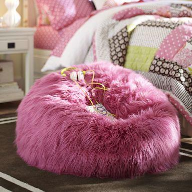 Deep Pink Fur-rific Beanbag #pbteen