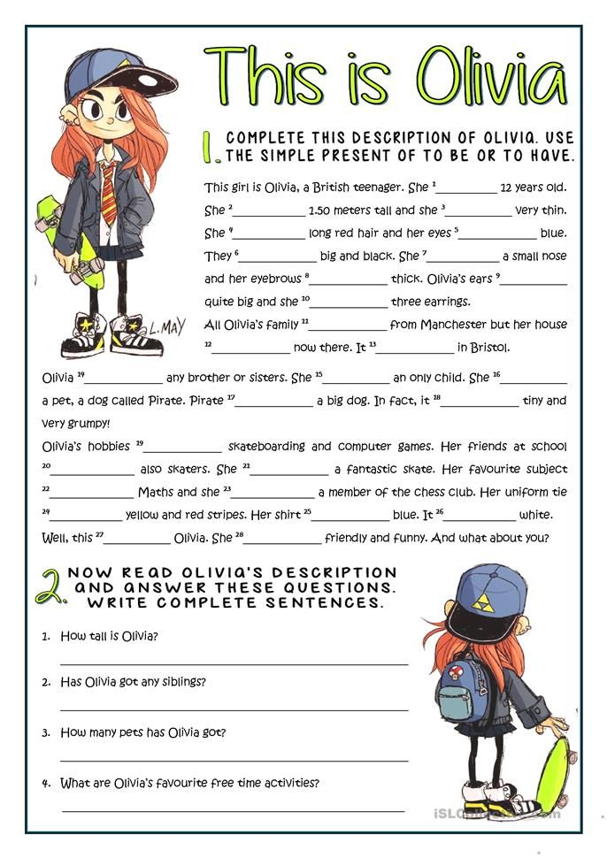 This Is Olivia Be And Have Practice English Esl Worksheets Verb Be Auxiliary Verbs Verb To Be The verb be worksheets