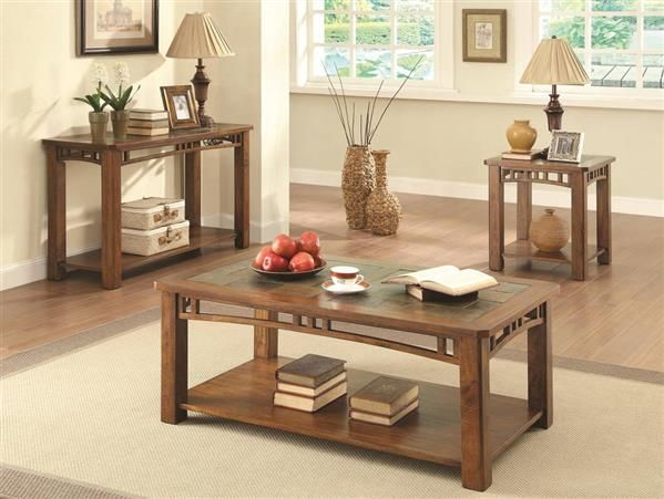 Traditional Craftsman Brown Wood Coffee Table Set