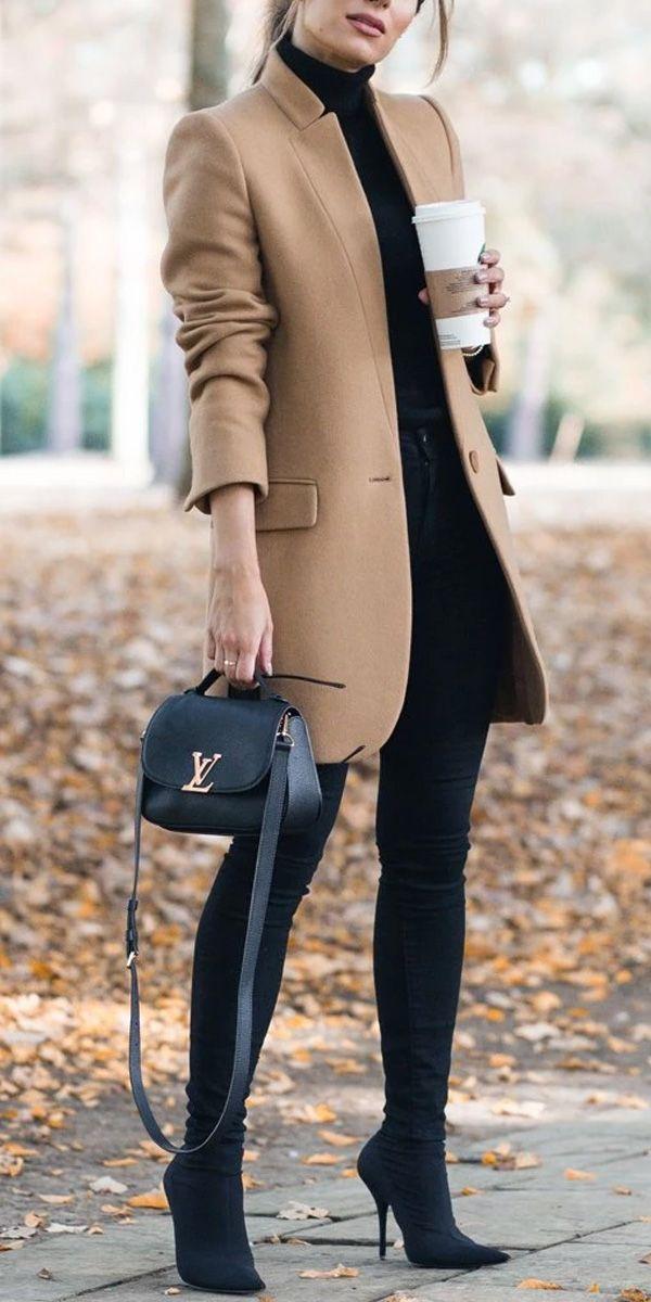 Manteau de couleur unie   – Style