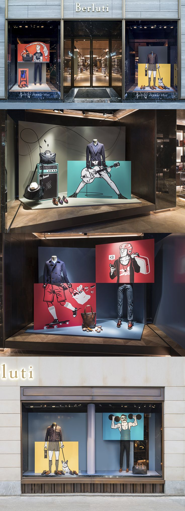 Illustrations for Berluti store´s window display                                                                                                                                                                                 More