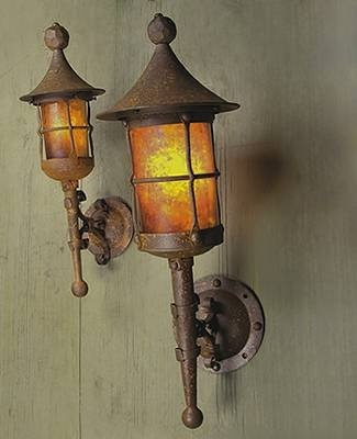 Mica Lamp Company Sb82 Storybook Fantasy Large Torch Outdoor Sconce Rust Powdercoat