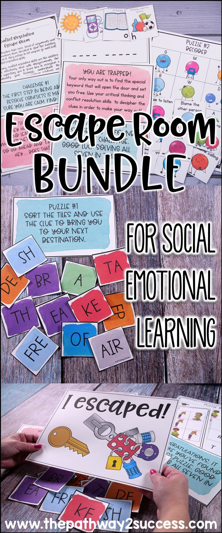 Escape room activities are great to teach critical skills like social and emotional skills! This resource includes materials to teach conflict resolution, growth mindset, managing emotions, executive functioning skills, and coping strategies!