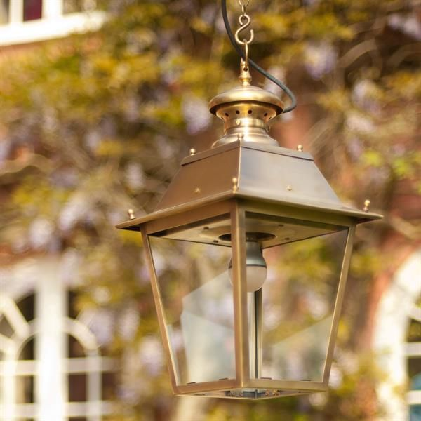 This stunning solid brass handmade #lantern is perfect in a porch or mounted on a corner bracket to illuminate your garden beautifully. #Canterbury #Lantern | #Exterior #Light | Outdoor Lighting | Jim Lawrence