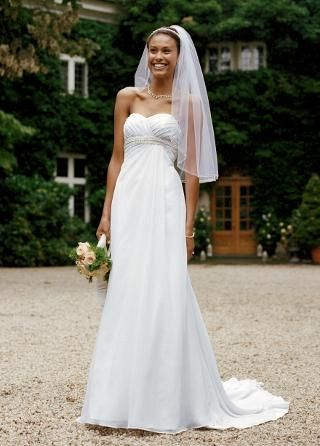 Chiffon Soft A-Line Gown with Side Drape - David's Bridal - mobile