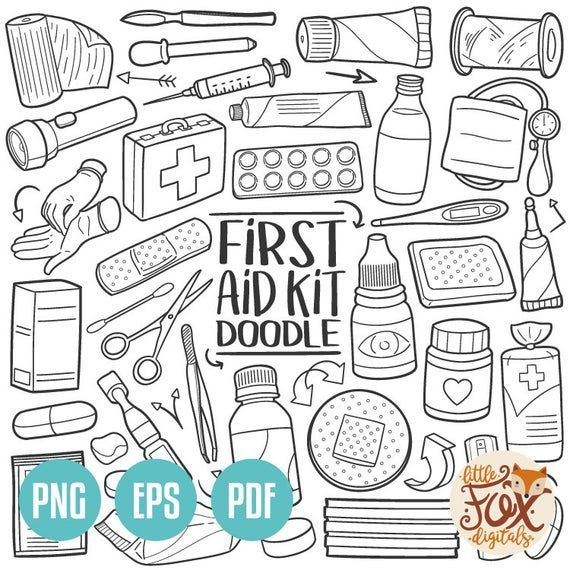 First Aid Firstaid Instant Download Vector Eps First Aid Kit Home House Tools Medical Doodle Icons Line Art Design Medical Clip Art How To Draw Hands