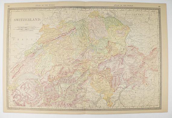 1887 Switzerland Map, Vintage Switzerland Art Gift for Her, Antique Map of Switzerland, Swiss Alps Map, Gift Under 30, Old Geography Map available from OldMapsandPrints.Etsy.com #Switzerland #SwissAlps #VintageSwitzerlandMap