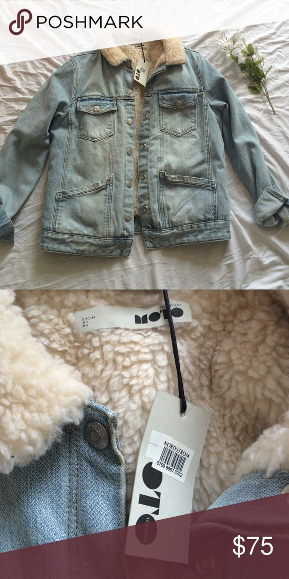 Topshop Denim Jacket with Lining Brand new with tags! Never worn (: flexible on price Topshop Jackets & Coats Jean Jackets