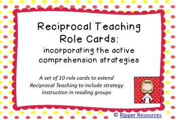 Reciprocal Teaching and comprehension strategy cards with mini graphic organisers for guided reading groups