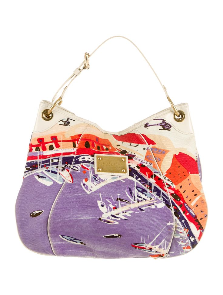 Ivory and multicolor Louis Vuitton Galliera Riviera GM tote with printed boat dock graphic throughout, gold-tone hardware, leather trim, dual pocket at interior and snap closure at front. Date code reads SP4038. Shop Louis Vuitton designer bags online at The RealReal.