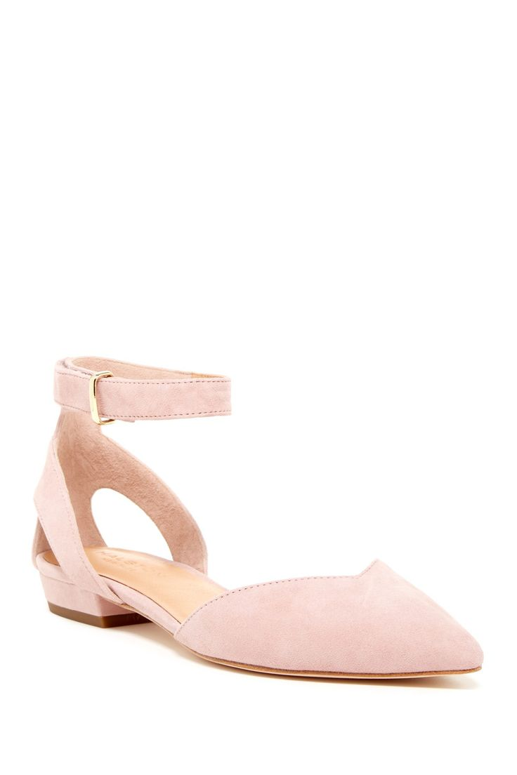 So sweet!  Blush pink Halston Heritage Jacqueline Ankle Strap Flats