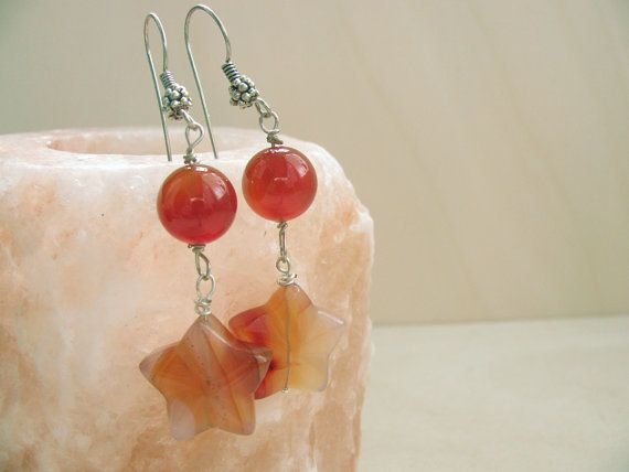 Carnelian earrings  Stars earrings Gemstone Carnelian jewlery