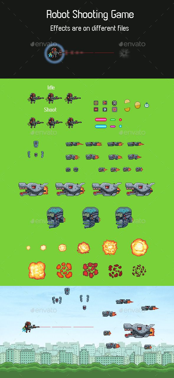 Robot Shooting Game Sprite — Transparent PNG #2d #8 bit • Available here → https://graphicriver.net/item/robot-shooting-game-sprite/11672337?ref=pxcr