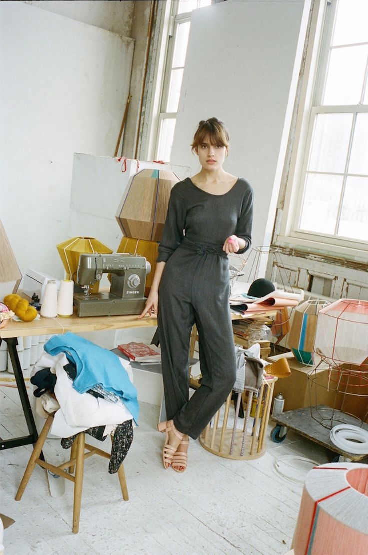 Datura Blog - Ana Kraš wearing our Datura.com Grey Wool Soft Kung Fu Jumspuit at her studio in LES