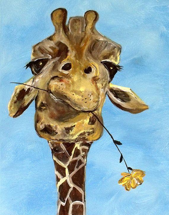 "giraffe with Flower ""Craig"" funny cute animal for nursery or adults (on etsy)"