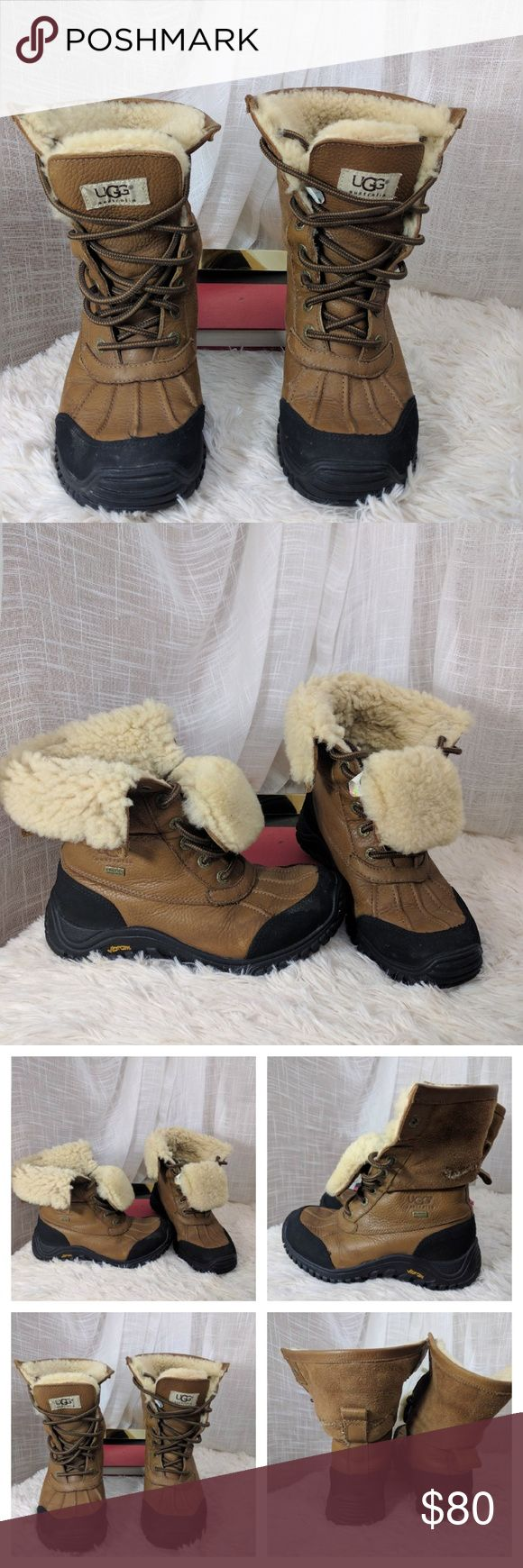 UGG Adirondack Boot II Women's Snow Boots in Otter These had a tear in the back of one of the boots shown I had it professionally repaired, but the stitching is visible.  Otherwise very low use boot as seen in the pic of the sole. UGG Shoes Winter & Rain Boots