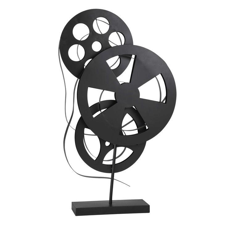 Maison du monde Ambiance cinéma ou industrielle Déco bobines en métal noir H 71 cm SEPTIEME ART Dimensions (cm) : H 71 x L 41 x PR 10  49,99 €