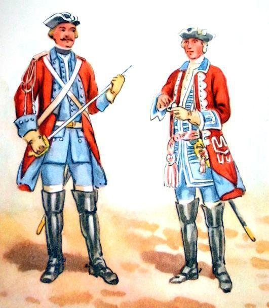 Regiment dragonów Wodzickiego w 1732 r. Od lewej: podoficer, s zef regimentu generał major Piotr Wodzicki.