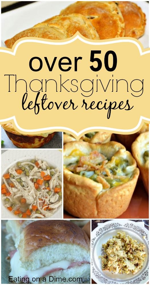 Delicious Thanksgiving Leftover Recipes for you to try. From mashed potatoes, sweet potatoes, greend beans to turkey - We have over 50 amazing recipes to try to use up all those leftovers.  - Eating on a Dime