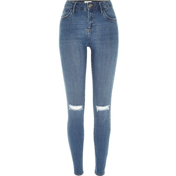 A chic foundation for off-duty, these ripped knee, mid rise jeans are an essential. Crafted from high-performance fabric, they work hard to hold you in. Isko…