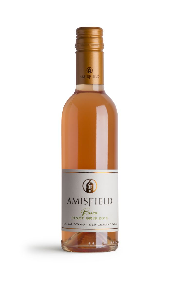 Amisfield Burn Pinot Gris 2016 - This wine has a luminous orange hue from extended contact of the juice with the beautifully bronzed Pinot Gris skins. The wine is true to variety however on a different more intriguing spectrum. This wine is reminiscent of the classic baked pear desserts such as poires pochées au vin. Spices and baked fruit characters abound, with our quintessential Central Otago acid brightness.
