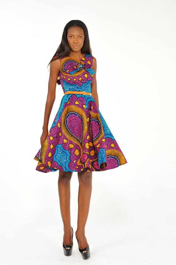 African Print Flare Dress by Bongolicious1 on Etsy
