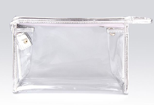 Transparent PVC Cosmetic Bag with Silver Details