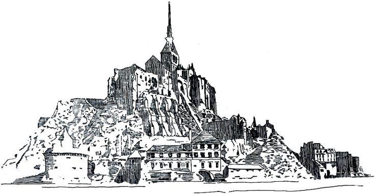 Мон-сен-Мишель - пример средневекового города, возникшего на морском скалистом острове у подножия древнего аббатства. После присоединения Нормандии к Французскому королевству город превратился в неприступную пограничную крепость. Реконструкция южного фасада города исполнена автором