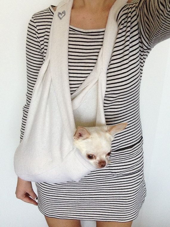 Scarf Sling Small Dog Carrier with Harness Clip Attachment in Nautical White on Etsy, $134.00 AUD