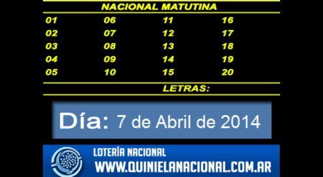 Loteria Nacional - La Quiniela Nacional Matutina Lunes 7 de Abril de 2014. Fuente: www.quinielanacional.com.ar