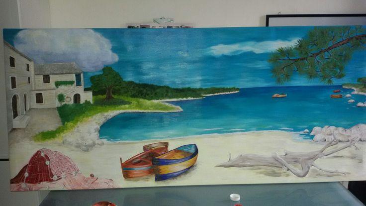quadro olio su tela paesaggio mediterraneo mare