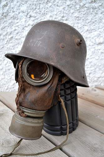 M17 German Helmet and Gas Mask
