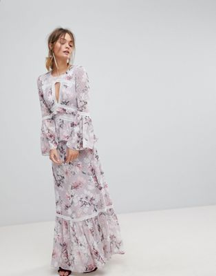 940a90ce44dc Forever New Maxi Dress With Fluted Sleeve In Print