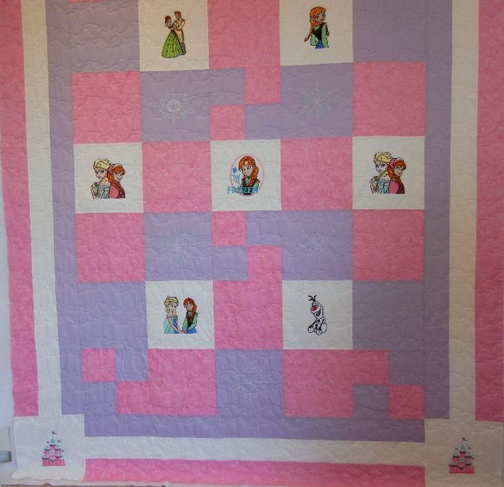 New - embroidered Frozen quilt - single bed size. This quilt incorporates seven Frozen designs of the Princesses and their friends and six panels with snowflakes.   100 percent cotton.