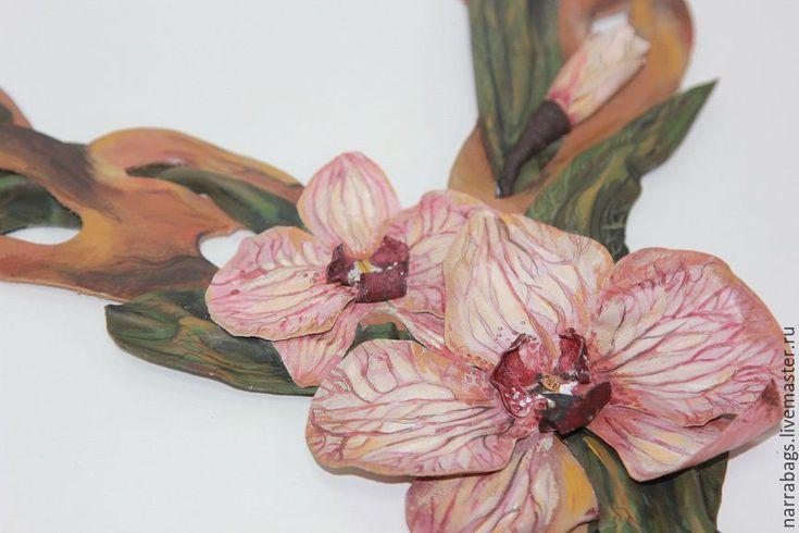 """Купить Сумка """"Кофейная орхидея"""" - бежевый, натуральная кожа, итальянская кожа, аппликация из кожи"""