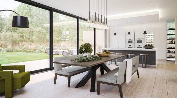 Love the Shelves _Contemporary kitchen and dining room in a modern extension