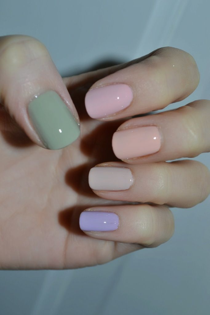 Spring Essie Nail Polishes - Da Bush - a grey/green ceylon Like to Be Bad - a pale pink with subtle pink shimmer A Crewed Interest - a pastel peach, sherb...