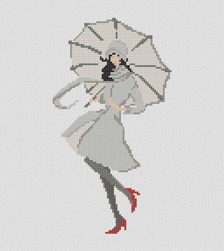 point de croix  femme et parapluie - cross-stitch woman and umbrella