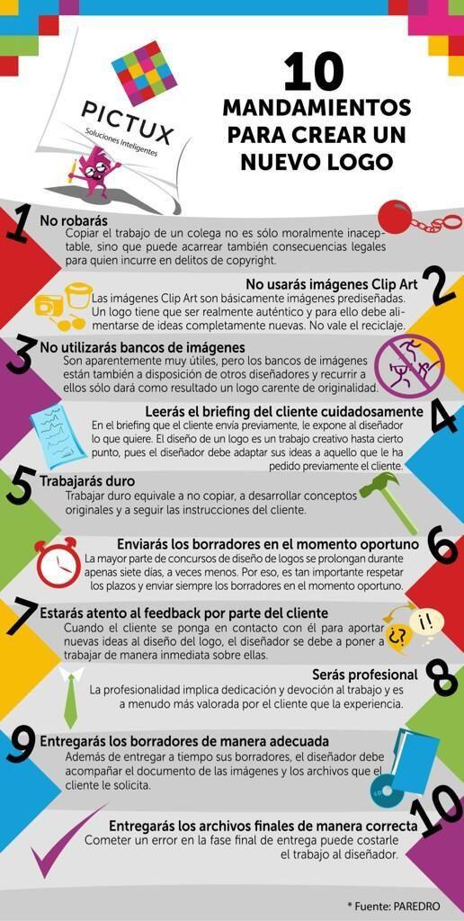 10 mandamientos para crear un logo #infografia #infographic #design #marketing
