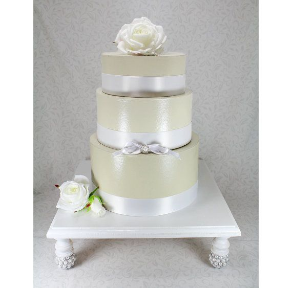 White & Silver Square Wedding Cake Stand. Cupcake Stand Display. Cottage Chic Wooden Wedding Cake Plate. Cake Table Decor. White Cake Decor