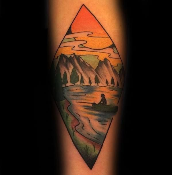 40 Canoe Tattoo Designs For Men Kayak Ink Ideas In 2020 Tatowierungen Tattoo Designs Ink