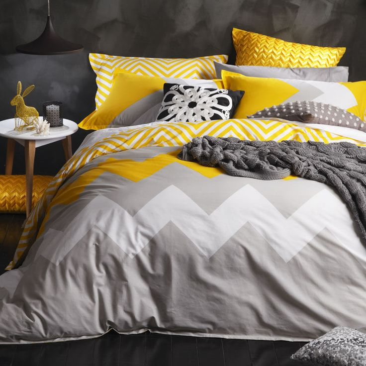 King Bed Size Doona Duvet Quilt Cover Set Chevron MARLEY YELLOW Logan and Mason