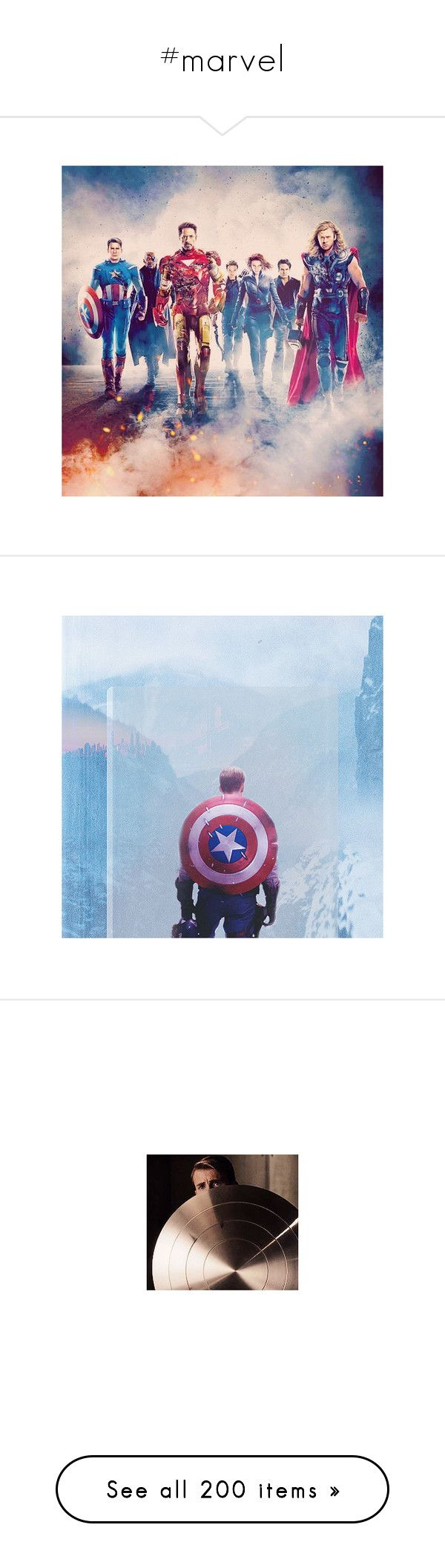"""""""#marvel"""" by mayhem-in-gotham ❤ liked on Polyvore featuring marvel, avengers, pictures, art, hero, captain america, comics, chris evans, avengers life and backgrounds"""