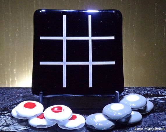 Black with Silver Slumped Fused Glass Tic Tac Toe by LoveHandyWork
