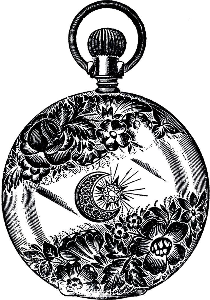 Public Domain Pocket Watch Image - Fancy! - The Graphics Fairy