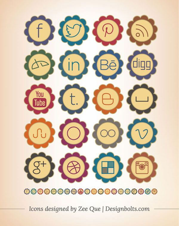 Vintage Social Media Icons 2013 Set For Pretty & Girly Blogs