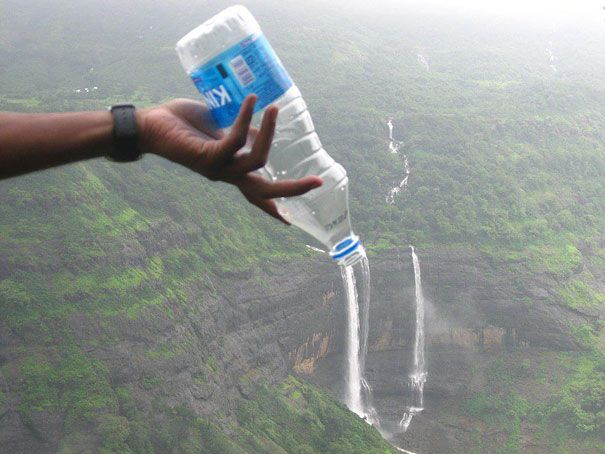 The perfectly timed waterfall in a bottle picture: | The 45 Best Perfectly Timed Photos Of 2013